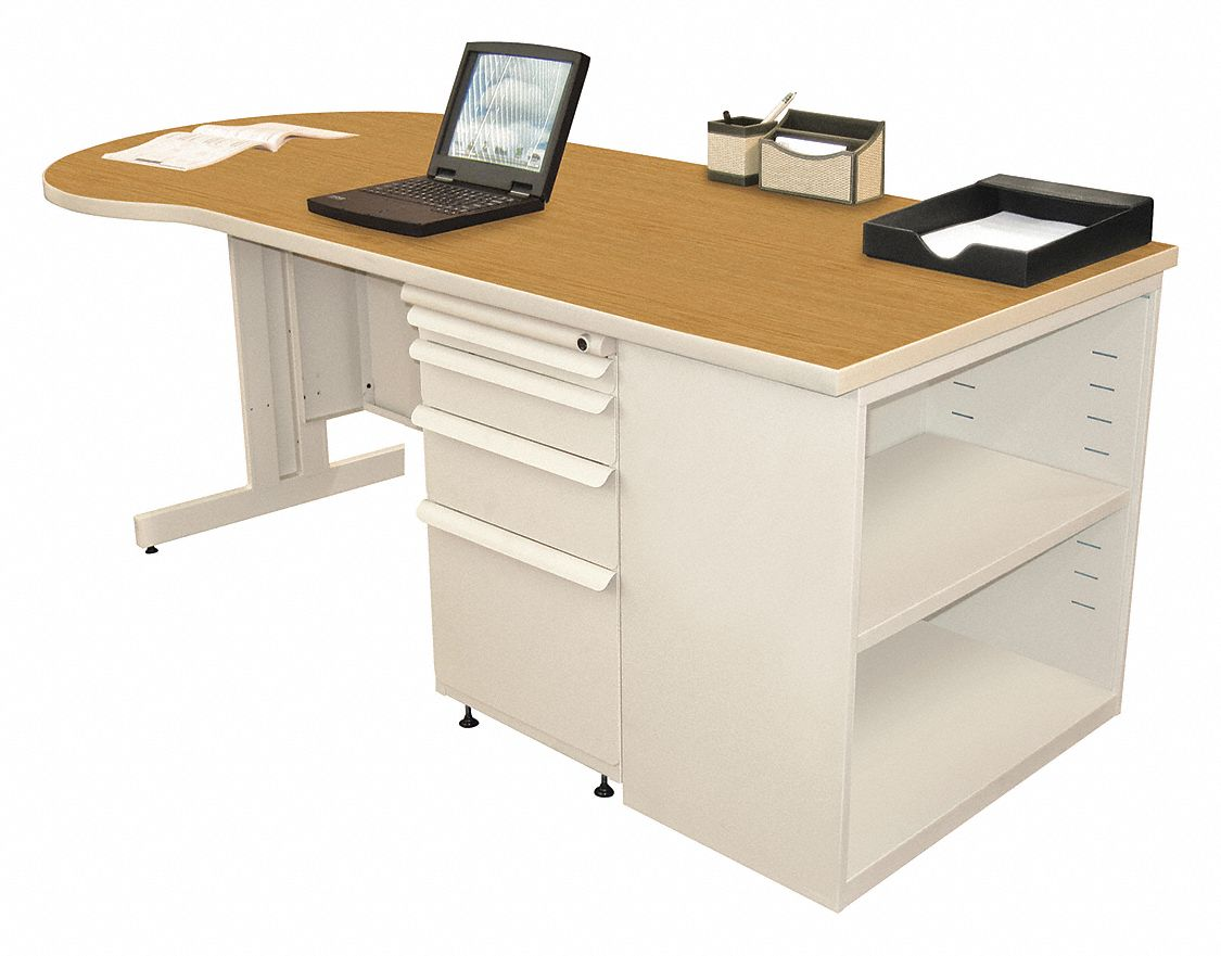 Office Desk, 75in.Wx30in.D, Oak Color Top