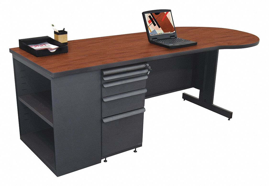 Office Desk, 87inWx30inD, Cherry Color Top
