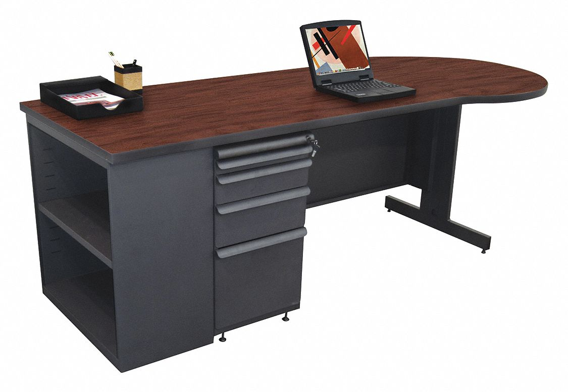Office Desk, 87in.W, Mahogany Color Top