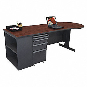 Office Desk, 87in.W, Mahogany Color Top