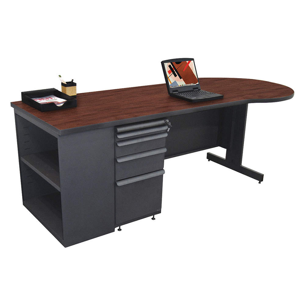 Office Desk 87in W Mahogany Color