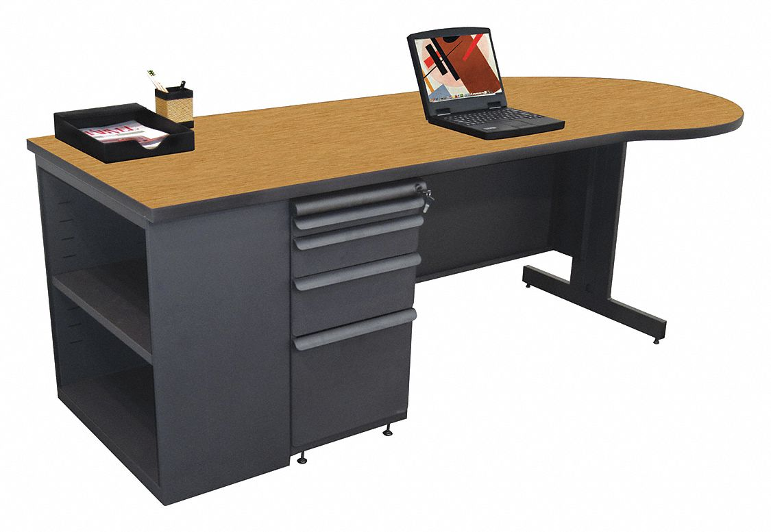 Office Desk, 87in.Wx30in.D, Oak Color Top