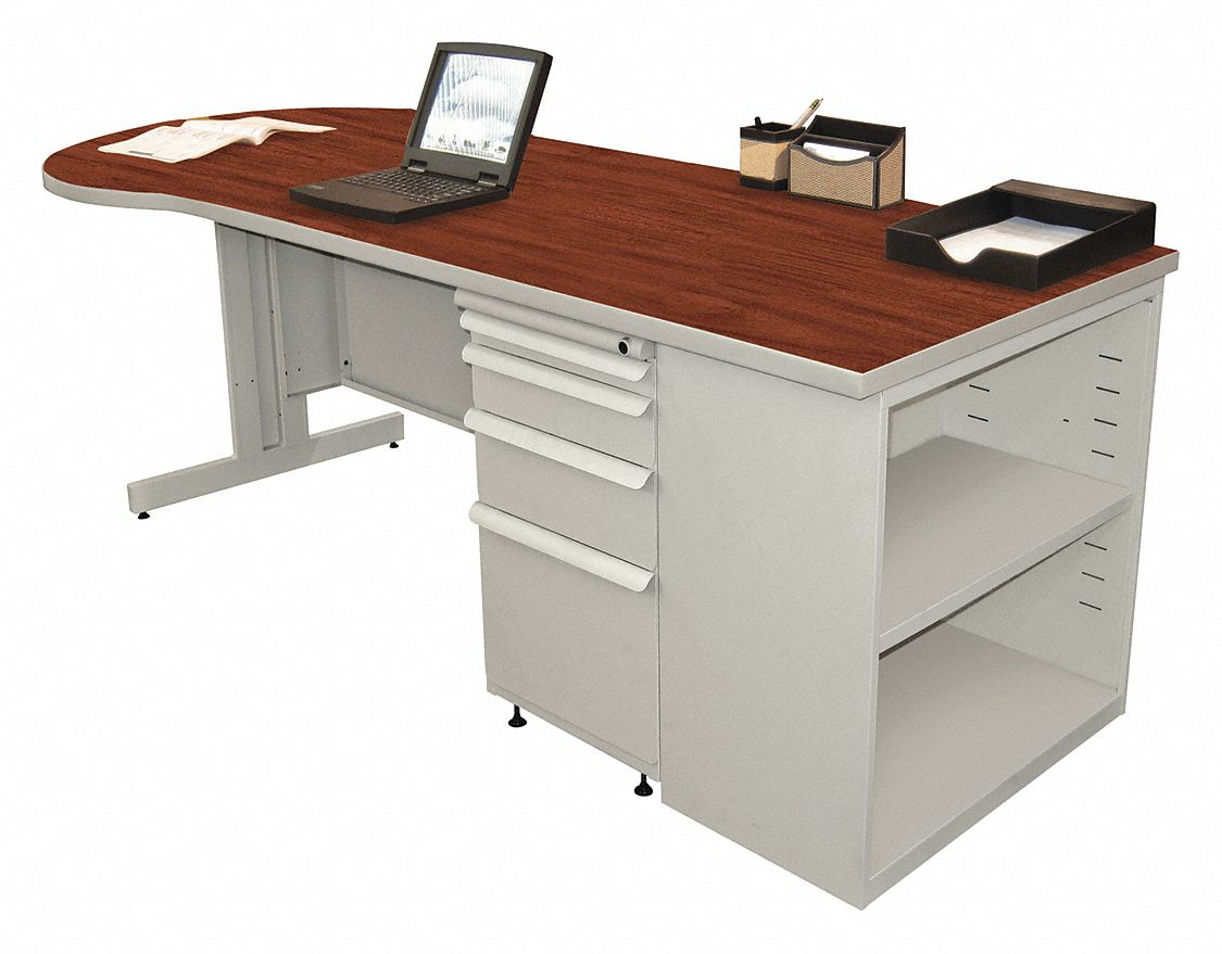 Desk, 87in.W, Gray Base, Cherry Color Top