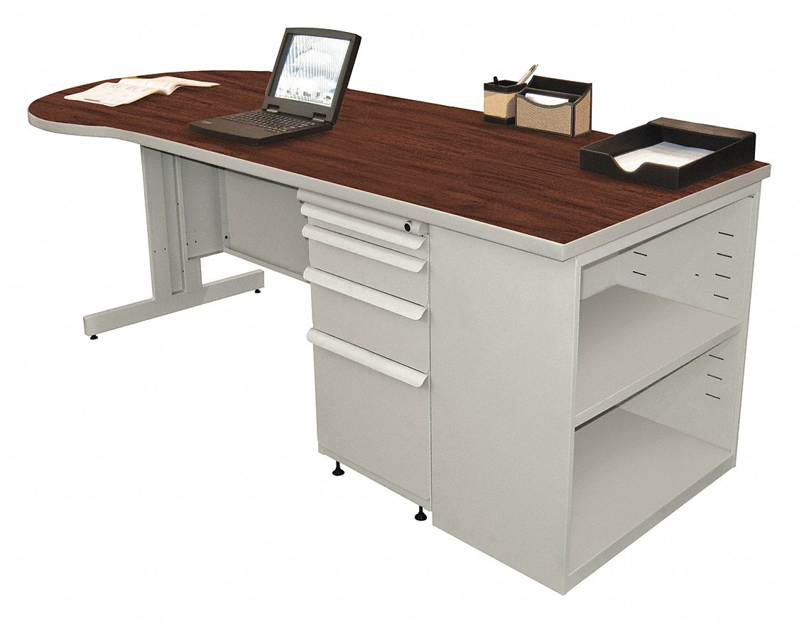 Desk, 87in.W, Gray Base, Mahogany Color Top