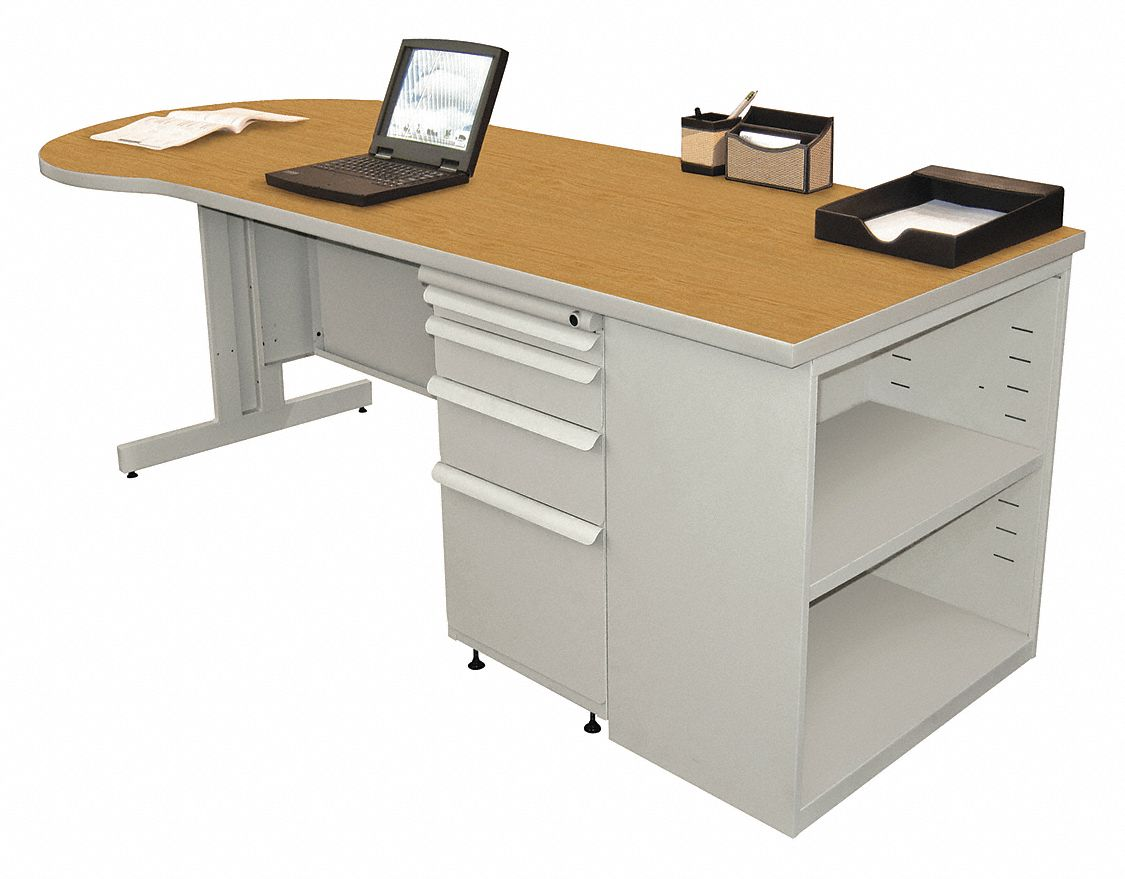 Desk, 29in.H, Gray Base, Oak Color Top