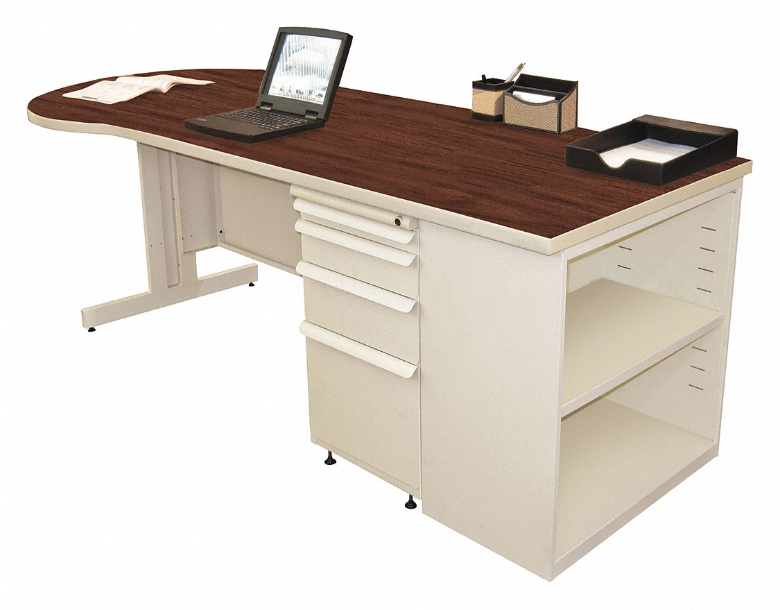 Desk, 87in.Wx30in.D, Mahogany Color Top