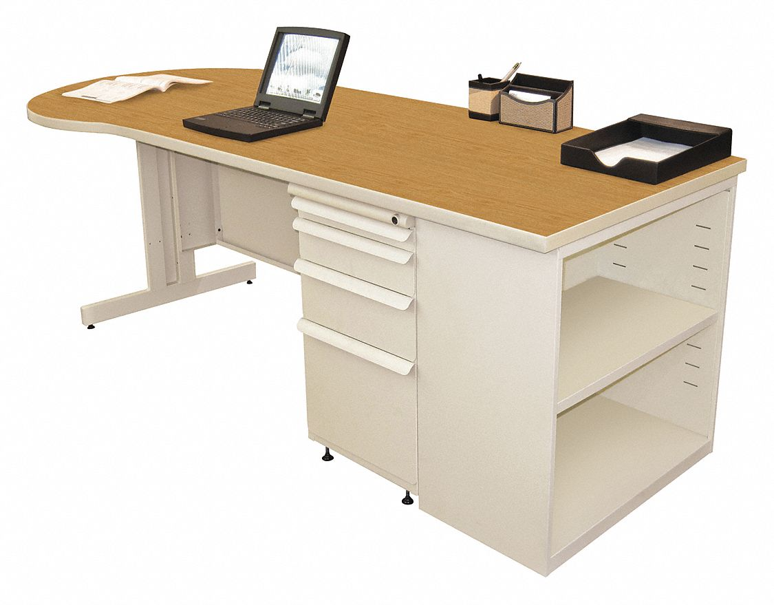 Office Desk, 87in.Wx29in.H, Oak Color Top