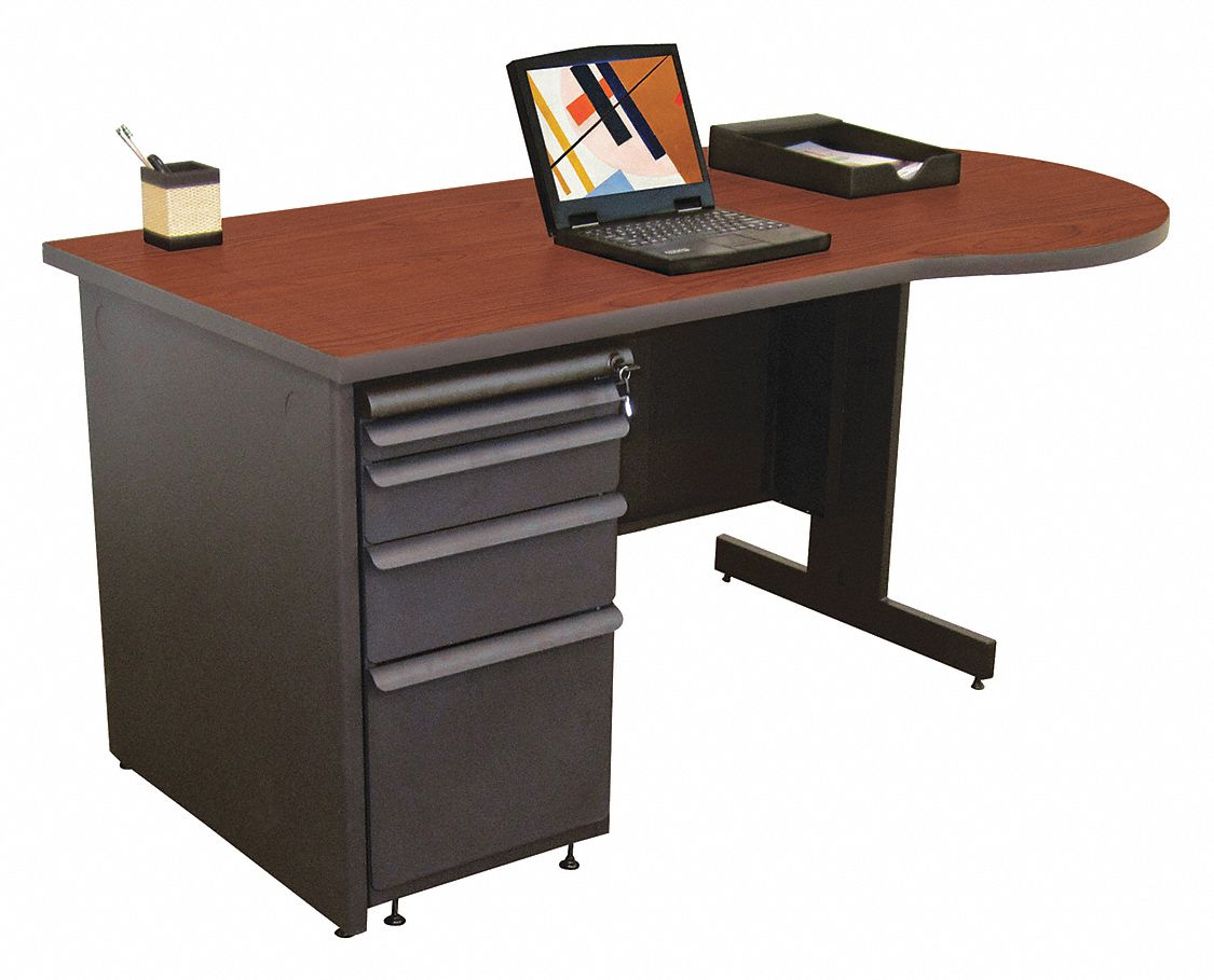 Desk, 60inW, Charcoal Bse, Cherry Color Top