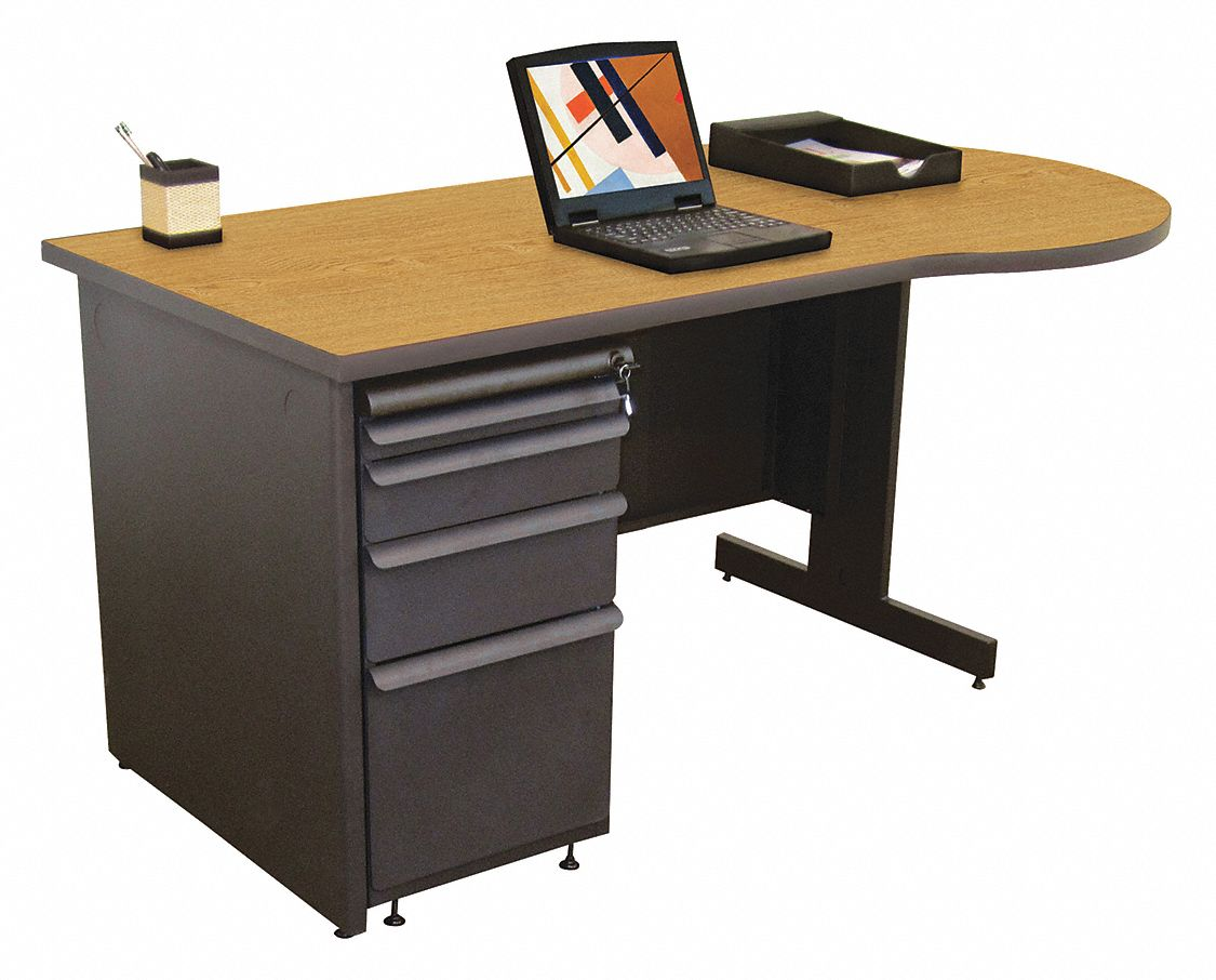Office Desk, 60in.Wx30in.D, Charcoal Base