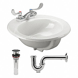 Lavatory Sink,White,8-1/2 in. Overall H