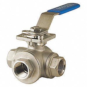 "316 Stainless Steel NPT x NPT x NPT Ball Valve, Locking Lever, 1-1/2"" Pipe Size"