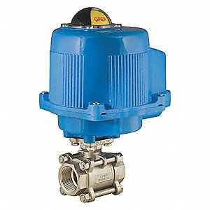 "3/4"" Stainless Steel Electronic Actuated Ball Valve, 24VAC/VDC, 30° V Port"