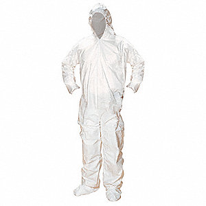 Hooded Disposable Coverall with Elastic Cuff, White, M, Microporous Laminate