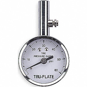 TIRE PRESSURE GAUGE,DIAL,60 PSI