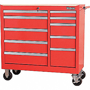 TOOL CABINET 42IN 10 DRWR RED
