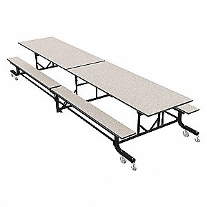 "16-Seat Rectangle Mobile Bench Table, Gray Glace, 29"" Height x 144"" Width"