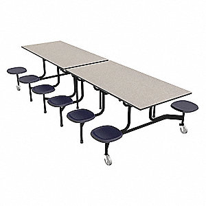 "12-Seat Rectangle Mobile Stool Table, Gray Glace, 29"" Height x 144"" Width"