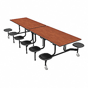 "12-Seat Rectangle Mobile Stool Table, Cherry, 29"" Height x 144"" Width"