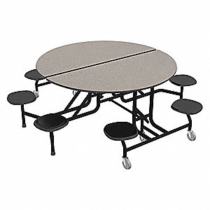 Mobile Stool Table,Gray,Black,8 Seats