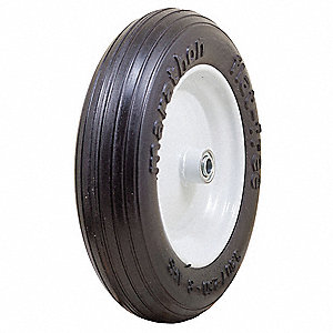 "13-25/64"" Light-Medium Duty Ribbed Tread Flat-Free Wheel, 350 lb. Load Rating"