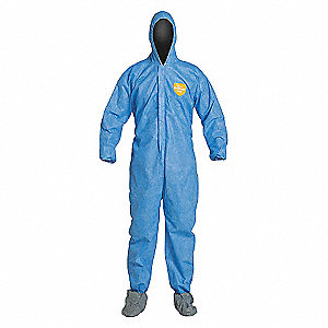 COVERALL,PROSHIELD,HOOD,BOOTS,BLUE,XL