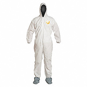 COVERALL,PROSHIELD,HOOD,BOOTS,WHITE,4XL