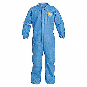 COVERALL,PROSHIELD,ELAST WR/ANK,BLUE,MD