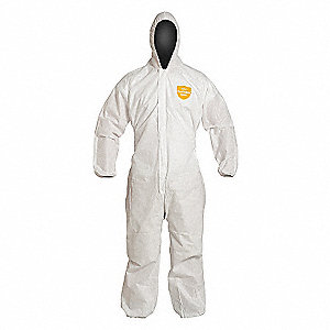COVERALL,PROSHIELD,HOOD,ELASTIC,WHT,MD