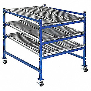 "Mobile Gravity Flow Rack with Steel Roller Lanes Decking and 3 Shelves, 36""W x 60""D x 54""H"