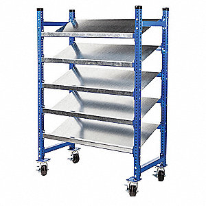 "Mobile Gravity Flow Rack with Steel Decking and 3 Shelves, 76""W x 28""D x 72""H"