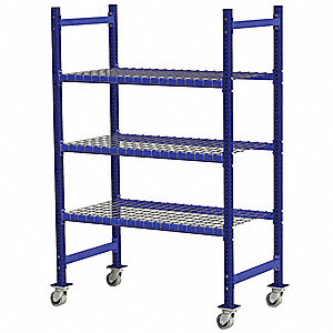 "Mobile Gravity Flow Rack with Steel Wire Decking and 3 Shelves, 36""W x 28""D x 72""H"