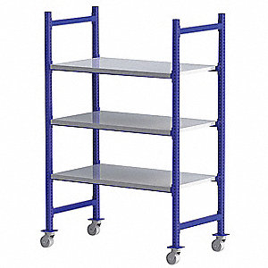 "Mobile Bulk Storage Rack with Steel Decking and 3 Shelves, 52""W x 28""D x 72""H"