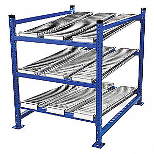 "Starter Gravity Flow Rack with Steel Roller Lanes Decking and 3 Shelves, 60""W x 48""D x 72""H"