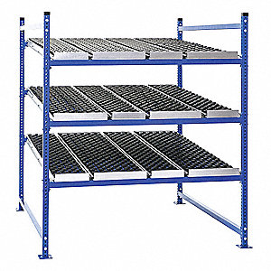 "Starter Gravity Flow Rack with Rubber Wheelbed Decking and 3 Shelves, 48""W x 48""D x 72""H"