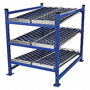 "Add-On Gravity Flow Rack with Rubber Wheelbed Decking and 3 Shelves, 72""W x 60""D x 72""H"