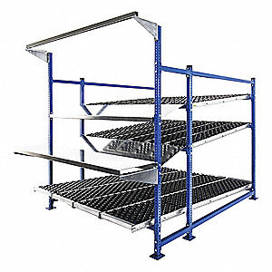 "Starter Gravity Flow Rack Workstation with Rubber Wheelbed Decking and 3 Shelves, 72""W x 96""D x 72""H"