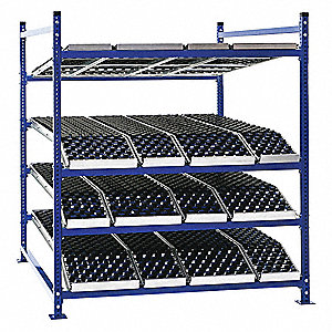 "Starter Gravity Flow Rack with Rubber Wheelbed Decking and 4 Shelves, 48""W x 72""D x 72""H"
