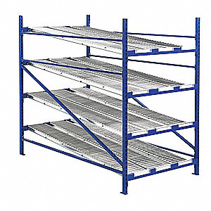"Starter Gravity Flow Rack with Steel Roller Lanes Decking and 4 Shelves, 48""W x 72""D x 84""H"