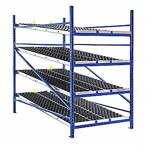 "Starter Gravity Flow Rack with Knuckled Wheelbed Decking and 4 Shelves, 96""W x 96""D x 84""H"
