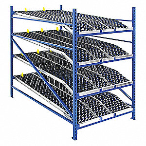 "Starter Gravity Flow Rack with Knuckled Wheelbed Decking and 4 Shelves, 48""W x 96""D x 84""H"