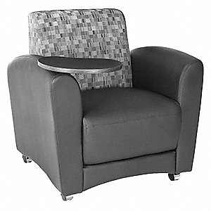 Tablet Chair,32 in. D,Black,Fabric