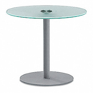 Glass Table,27-1/2 in. D,Glass/Steel