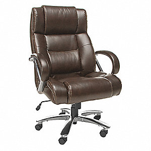 "Brown Leather Executive Chair 28-1/2"" Back Height, Arm Style: Fixed"