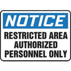 SAFETY SIGN RESTRICTED AREA PLAST