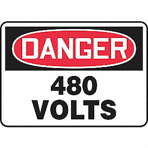SAFETY SIGN 480 VOLTS PLASTIC