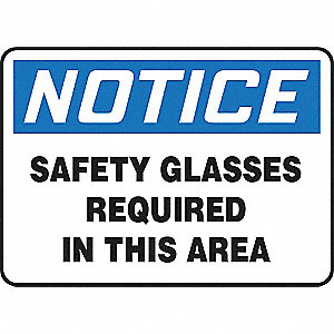 SAFETY SIGN SAFETY GLASSES REQPLA