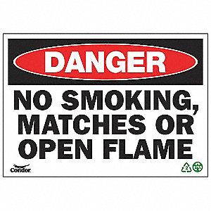 SIGN DANGER NO SMOKE 7X10 PL