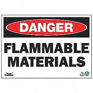 SIGN DANGER FLAM MATERIAL 7X10 PL