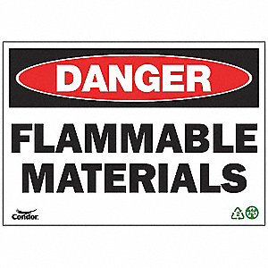 SIGN DANGER FLAM MATERIAL 7X10 SA