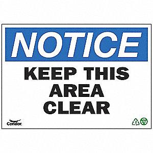 SIGN NOTICE AREA CLEAR 7X10 PL